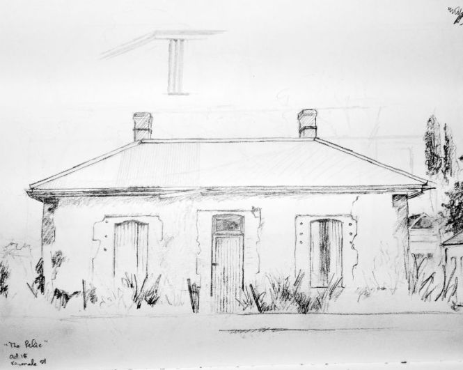 pencil drawing of derelict building