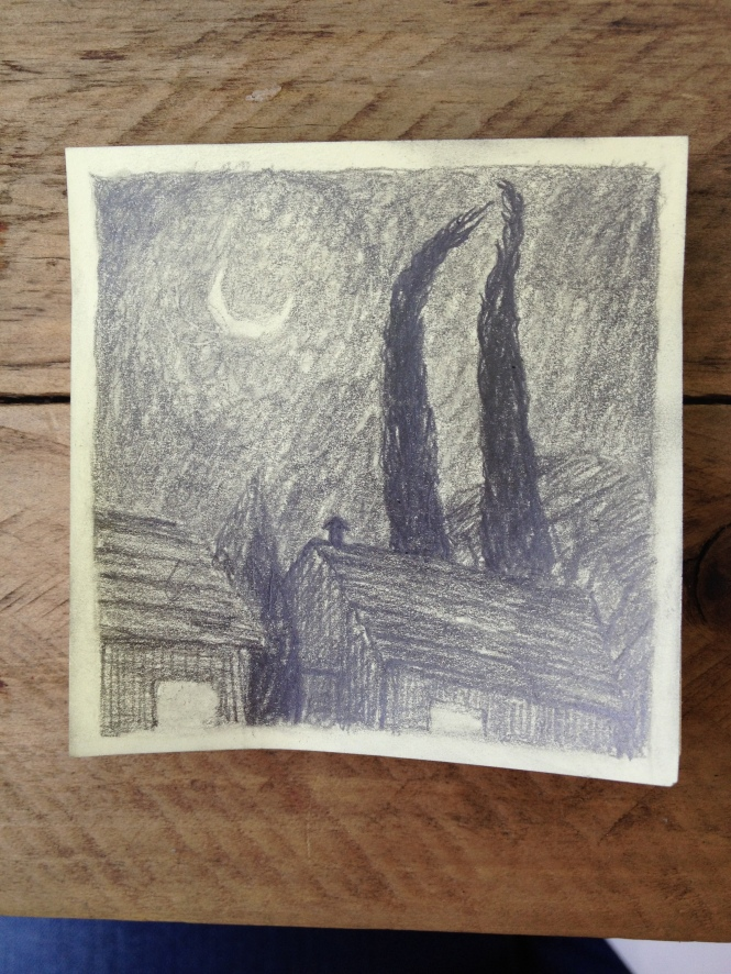 pencil drawing on post-it note