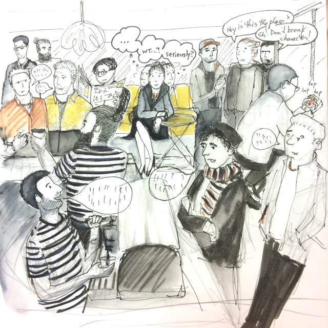 drawing of woman in cafe surrounded by hipsters